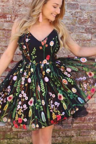 Cute Short Straps Homecoming Dresses, Black Floral Party Dress, A Line Sleeveless Cocktail Dresses,Homecoming Dresses YG43
