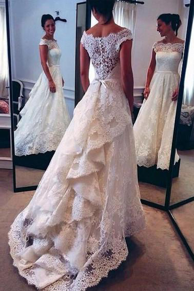 Vintage Lace Ivory Wedding Dresses,Off the Shoulder Layers Skirt Bridal Gowns,A-line Bridal Gowns Wedding Dresses,Wedding Dresses TY65
