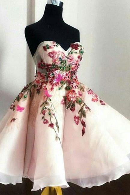 Cute Sweetheart Appliques Short Prom Dresses, A Line Strapless Chiffon Flowers Sleeveless Homecoming Dress, Homecoming Dress YT43