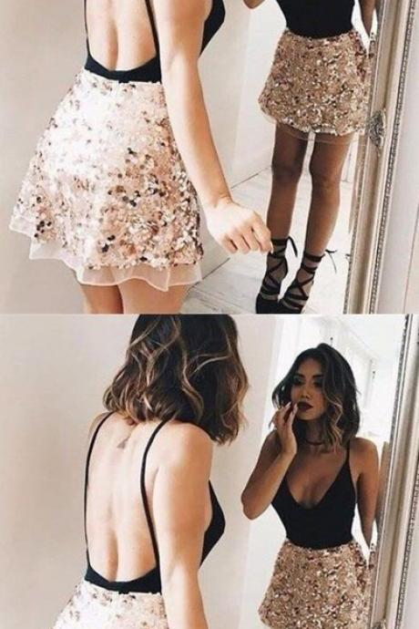 Sexy Black Sequins Homecoming Dress,Open Back Spaghetti Straps Mini Party Dress,Short Sleeveless Prom Gown for Teens, Homecoming Dress PH43
