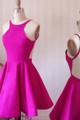 A-Line Scoop Backless Short Prom Dresses,Fuchsia Satin Homecoming Dress,Cute Mini Cocktail Dresses, Homecoming Dress EB56