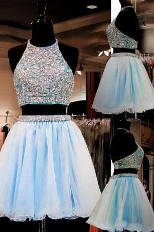 Fashion Two Pieces Short Prom Dresses, A-Line Halter Blue Organza Backless Homecoming Dress with Beading,Homecoming Dress YG658
