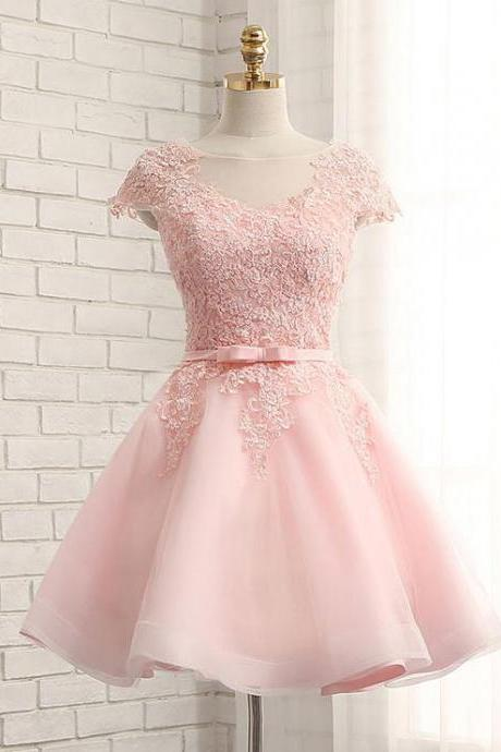 A-line Lace Appliqued Mini Short Prom Dresses,Knee Length Homecoming Dresses with Cap Sleeves,Pink Lace Appliques Cocktail Dress, Homecoming Dress FF45