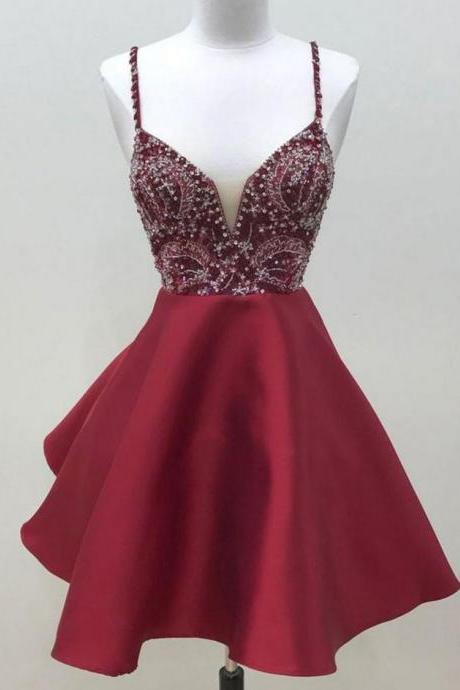 Cute Dark Red Short Prom Dresses,Spaghetti Strap Beaded Satin A Line Homecoming Dresses, V Neck Sweet 16 Dresses, Homecoming Dress BG89
