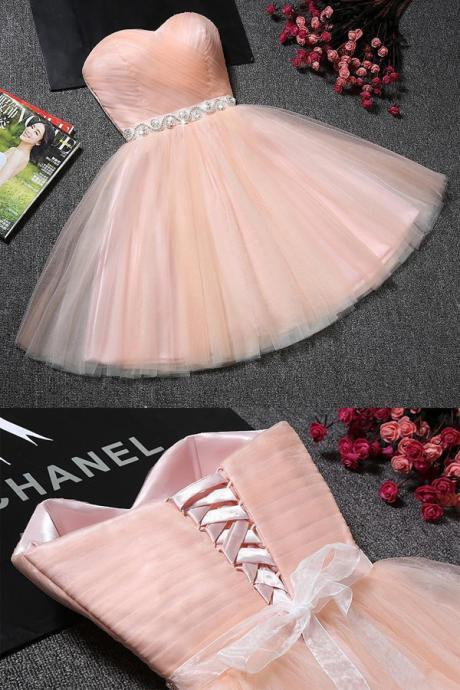 Cheap Cute Blush Pink Tulle Strapless Sweetheart Neck Homecoming Dress, Short Prom Dresses, Party Dresses, SH400 C91