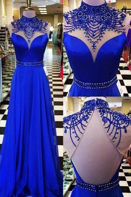Fabulous Royal Blue High Neck Long Prom Dress Formal Dress Evening Dresses with Beading, Long Prom Dresses, Gowns Prom, M292