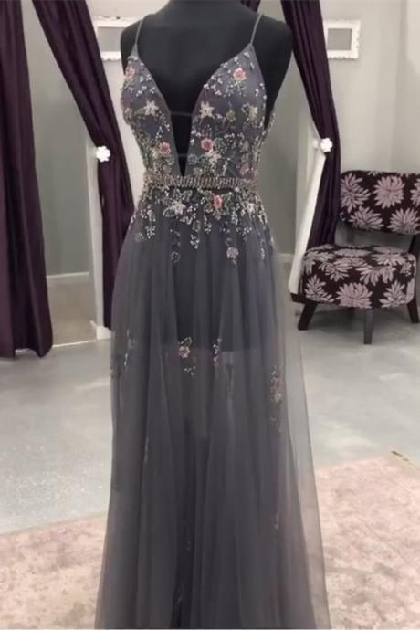 Gray Deep V neck Beaded Long Prom Dress with Flowers, Evening Dresses, Tulle Prom Dress, Long Evening Dress with Appliques,Prom Dresses,MC310