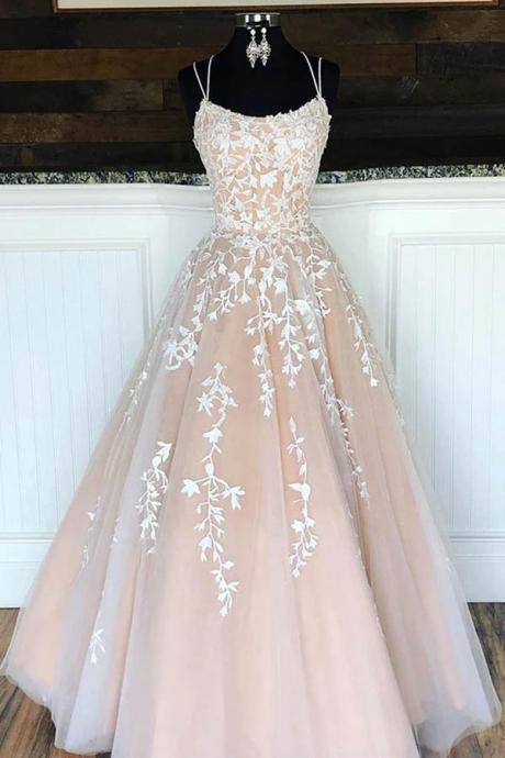 Beautiful New Arrival Double Straps Tulle Ball Gown Prom Dresses with Appliques, Prom Dresses Long, Evening Dress with Appliques,Prom Dresses, SP575