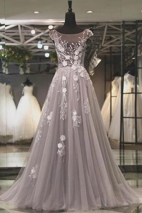 Elegant Gray Tulle Scoop A-line Long Prom Dress Evening Dress with Appliques, Tulle Prom Dress, Long Prom Dress with Appliques, C574