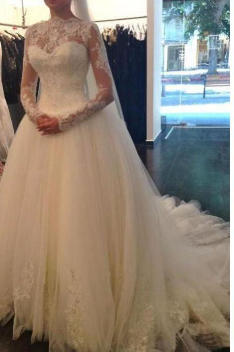 Beading Wedding Dresses, Long Sleeve Wedding Dress , White Wedding Dress ,Lace Wedding Dresses,Tulle Wedding Dresses,Appliques Wedding Dresses,Wedding Dresses
