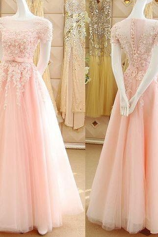 Appliques Prom Dresses,Pink Princess Prom Dresses, Lace Prom Dress, Short Sleeves Prom Dress, See-through Tulle Prom Dresses, Prom Dresses