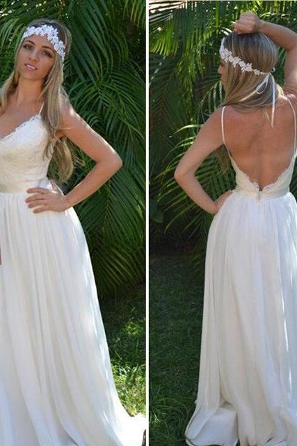 Spaghetti Strap Wedding Dresses, Lace Chiffon Wedding Dress,Long White Wedding Dress,Sexy Wedding Dress,Beach Wedding Dresses, Backless Wedding Dress,Wedding Dresses