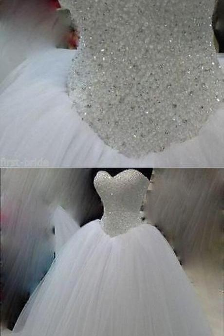 Beaded Embellished Sweetheart Floor Length Tulle Wedding Gown