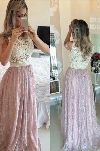 Pearls Prom Dresses,Pink Evening Gowns,Lace Formal Dresses,Sleeveless Prom Dresses 2017,Beautiful Evening Dress,Beading Prom Dresses,Prom Dresses
