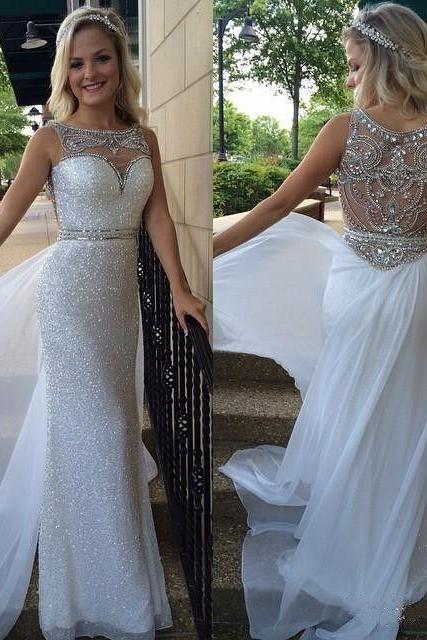 Beading Prom Dresses,Sequin Prom Dresses,Long Chiffon Prom Dresses,Beautiful Prom Gowns, White Prom Dress, Mermaid Prom Dresses,Prom Dresses