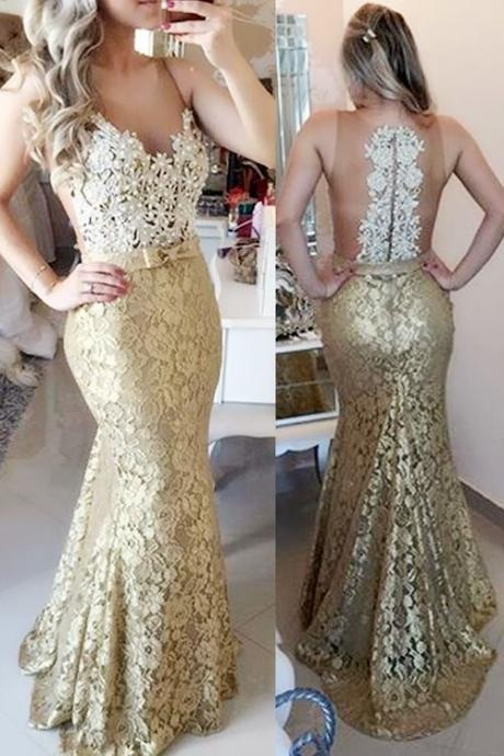 Mermaid Prom Dresses, Sleeveless Prom Dresses, Long Evening Gowns, Lace Prom Dresses, Gold Prom Dresses,Beading Prom Dresses,Prom Dresses