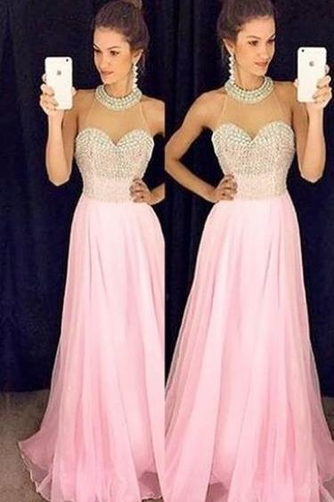 A-Line Prom Gowns,Sexy Evening Prom Dress,Pink Prom Dress, Chiffon Prom Dress,Halter Prom Dress,Charming Long Prom Dress,Sleeveless Prom Dress,Prom Dresses