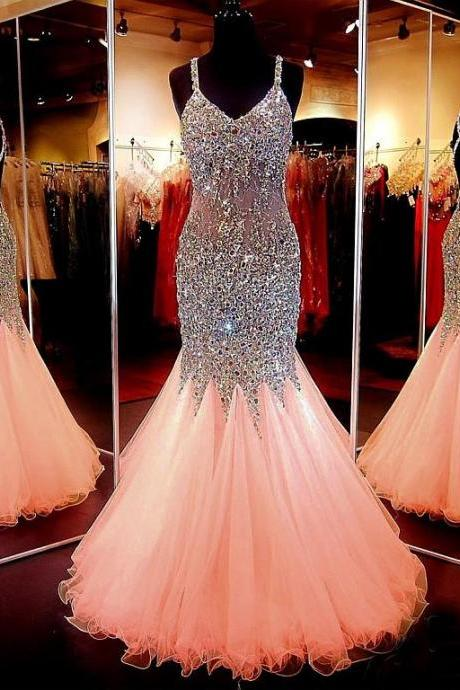 Tulle Prom Dresses, Spaghetti Straps Prom Dress, Neckline Floor-length Prom Gowns,Mermaid Prom Dress,Beading Prom Dresses, Gorgeous Graduation Dresses,Charming Prom Dresses,Prom Dresses