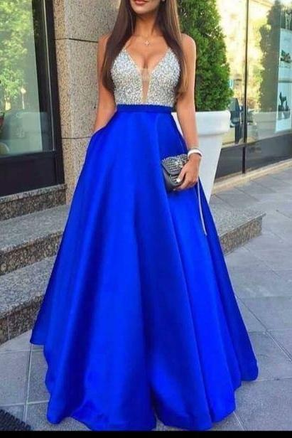 A-Line Prom Gowns,Beading Prom Dress,Charming Satin Prom Dress,Royal Blue Prom Dress,Elegant Prom Dress,Long Prom Dresses,Evening Formal Dress, Homecoming Prom Dress,Prom Dresses