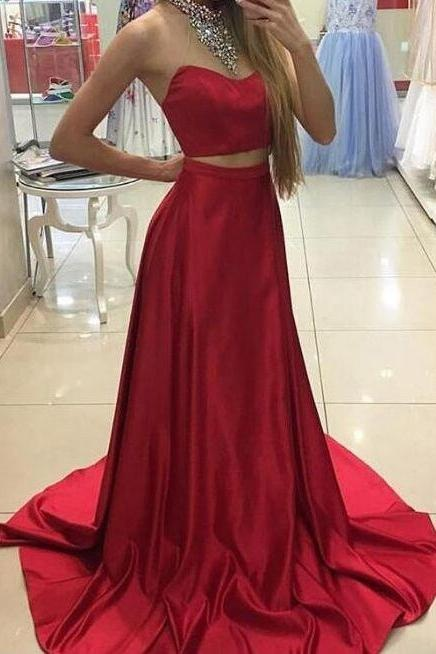 Red Prom Dress, Elastic Satin Prom Dresses, Long Prom Dresses, New Arrival Prom Dresses, High Quality Prom Dresses, Two Piece Prom Dresses,Chapel Trailing Prom Dress,Prom Dresses