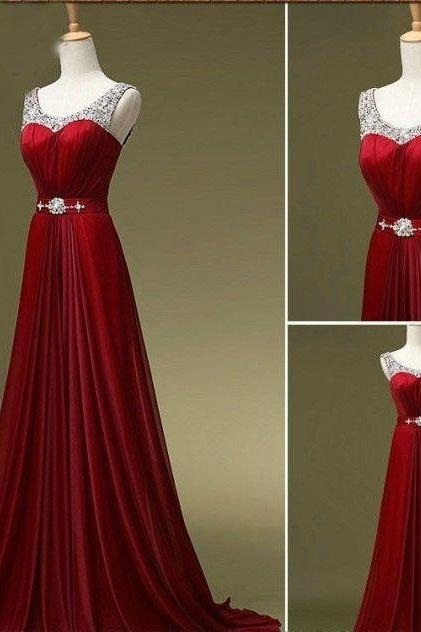Burgundy Prom Dress,Sequin Straps Prom Dresses, Long Prom Dresses 2017, Homecoming dress, Chiffon Prom Gown,A-Line Prom Dress, Sleeveless Prom Dresses,Prom Dresses