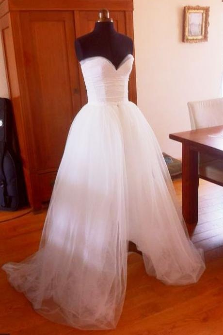 Tulle Prom Dresses,Prom Gown,Sweetheart Prom Dress, Princess Prom Dress,White Slit Prom Dresses,Long Prom Dresses,Charming Prom Gown,Prom Dresses
