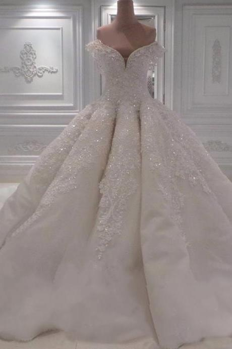 Beading Wedding Dresses, Sexy Wedding Gown,Off-The-Shoulder Wedding Dress, White Lace Wedding Dress, Sweetheart Wedding Dress, Ball Gown Wedding Dresses, 2017 Princess Wedding Dresses,Wedding Dresses