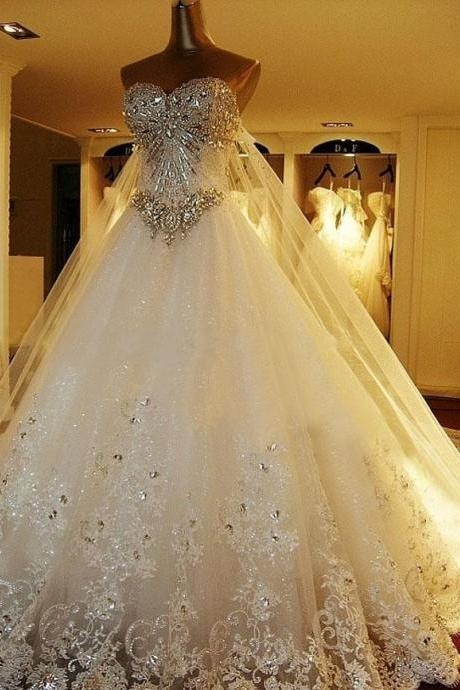 Luxury Wedding Gowns,Beading Wedding Dress,Tulle Wedding Dresses,Sweetheart Wedding Dress,Ball Gown Wedding Dress, Charming Wedding Dress,Wedding Dresses