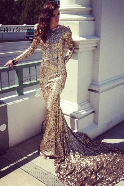 Gold Prom Dresses,Prom Dresses 2017,Sequins Prom Dress,Long Sleeves Prom Dress,Mermaid Prom Gown,Charming Prom Dress,Evening Prom Dress,Prom Dresses