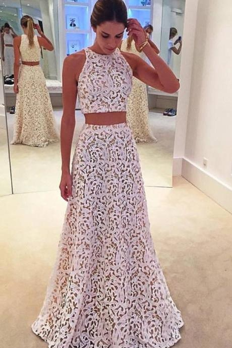 White Prom Dress,Lace Prom Dress,Two Piece Prom Gown,Sleeveless Prom Gown, Long Prom Dresses,Halter Prom Dresses,Charming Prom Dress,Evening Party Prom Dress,Prom Dresses