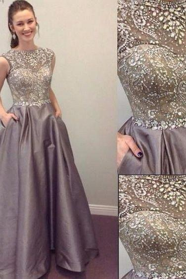 High Prom Dress,Charming Prom Dress,Satin Prom Dress,Beading Prom Dress,A-Line Prom Gown,Ball Gown Prom Dress,Sleeveless Prom Dresses,Elegant Prom Dress,Prom Dresses