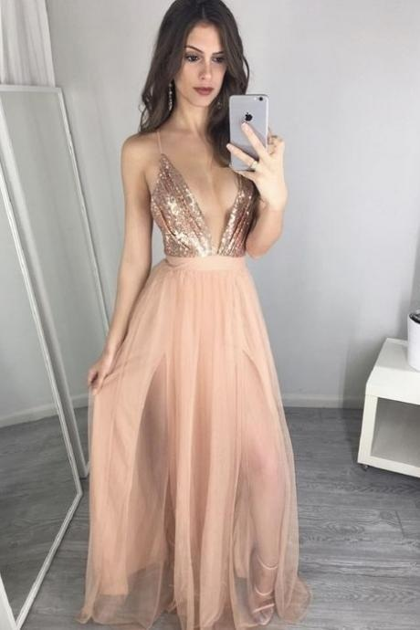Sexy Prom Dress, V-Neck Prom Gown, Sequin Prom Dresses,Charming Prom Dresses,Tulle Prom Dresses,New Arrival Prom Dresses,Cheap Prom Dresses 2017, Prom Dresses