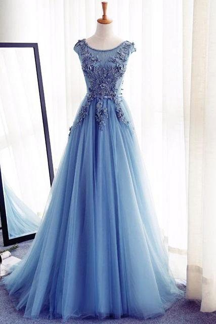 Blue Prom Gown,Floor Length Prom Dress,Tulle Prom Gowns, A-Line Prom Gown,Appliques Prom Dresses,Cap Sleeves Prom Dress 2017,Charming Prom Dress,Prom Dresses