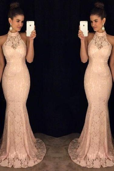 Halter Prom Dress,Modest Prom Gowns,Long Prom Dress,Lace Prom Dress,Sleeveless Prom Dress,Mermaid Prom Dresses 2017, Elegant Evening Gowns,Charming Prom Dress,Prom Dresses