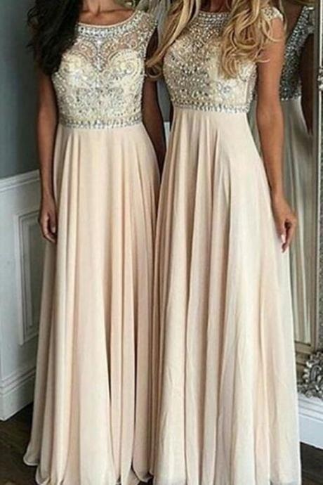 Cap Sleeves Prom Gown, Floor-Length Prom Dress,Beading Prom Dress,Chiffon Prom Dresses,High prom Dress,Sleeveless Prom Dress,Long Prom Dress, Prom Dresses
