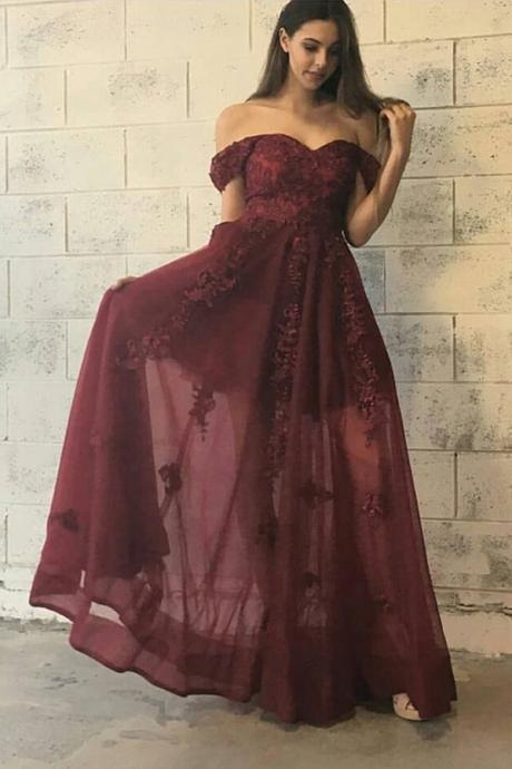 Lace Prom Gown,Off-The-Shoulder Prom Dress,Floor Length Prom Gown, Burgundy Prom Dress,Appliques Prom Dresses,Long Prom Dress,Sweetheart Prom Gowns,Prom Dresses