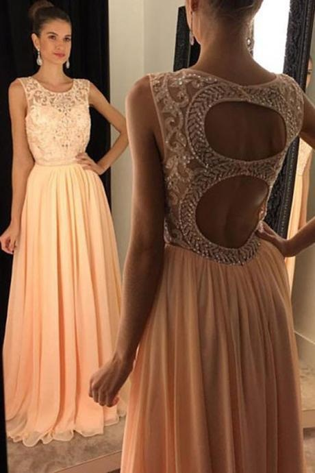 Beading Prom Dress,New Arrival Prom Dress,Stylish Round Neck Prom Dress,Sleeveless Prom Gowns,Open Back Prom Dress,Chiffon Prom Dresses,Charming Prom Dress,Prom Dresses