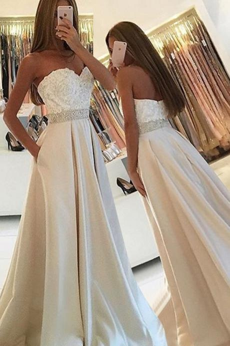 Simple Prom Dress,Sweetheart Prom Dresses,Sleeveless Prom Gowns,Floor Length Prom Gown,Ivory Prom Dress,Lace Prom Dress, Beading Prom Dresses,Charming Prom Dress, Prom Dresses