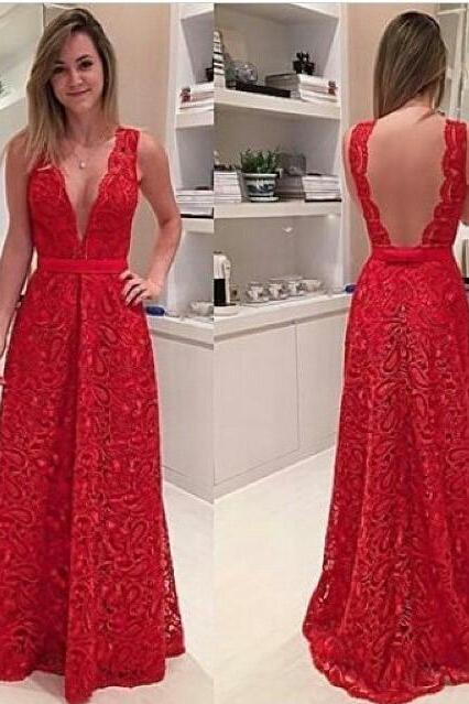 V-Neck Prom Gown,Red Prom Dresses,Charming Evening Dress, Long Prom Gowns,Lace Prom Dresses 2017, New Prom Gowns,Backless Party Dresses,Prom Dresses