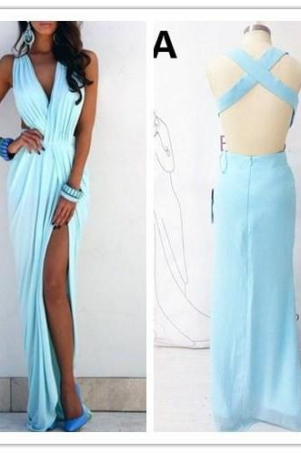 Sleeveless Prom Dress,Chiffon Prom Dresses,Long Prom Dresses,A-Line Prom Dress,Blue Prom Dresses,Long Homecoming Dress,Simple Evening Gowns,V-Neck Prom Gown,Prom Dresses