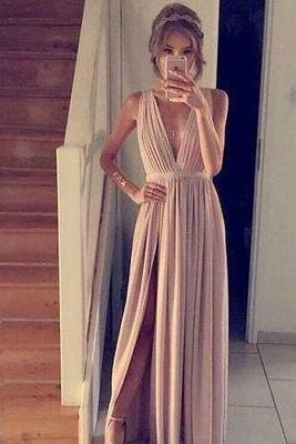 Sleeveless Prom Dress,Blush Pink Prom Dresses,A-Line Prom Dress,Simple Prom Dress,Chiffon Prom Dress,V-Neck Evening Gowns,Cheap Party Dress,Elegant Prom Dresses,Prom Dresses