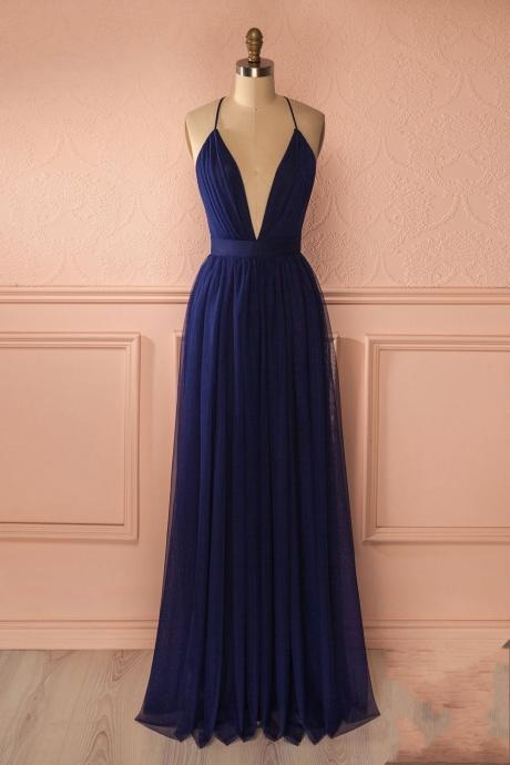Navy Prom Dress,Sexy Prom Dress,V-Neck Prom Gown,Backless Prom Dress,Simple Prom Dress,Tulle Prom Dress,Long Party Dress,Elegant Prom Dress,Prom Dresses