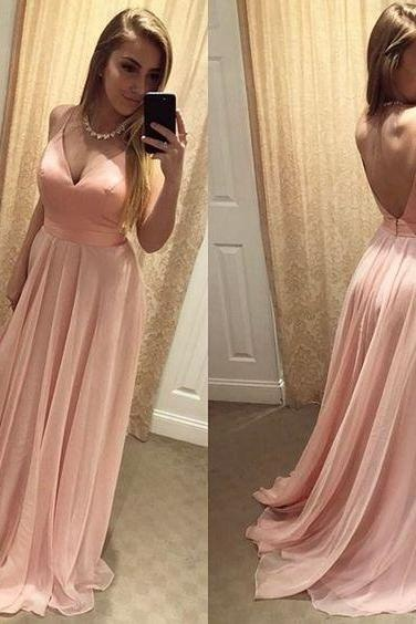 Backless Prom Gown,Sexy Prom Dresses,Blush Pink Prom Dresses,Backless Prom Dress,Simple Evening Dress, Long Party Dress, V-Neck Formal Dress,Chiffon Woman Dresses,Prom Dresses
