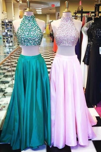 Two Piece Prom Dress,Beading Prom Gown, Halter Formal Gown, Long Prom Dresses, Sweep Train Evening Dress,Satin Celebrity Dresses,Sleeveless Prom Dress, Prom Dresses