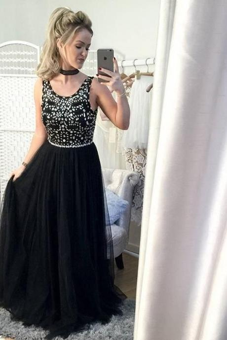 Beading Prom Gown, Black Prom Gowns, Sleeveless Prom Dress,Chiffon Evening Gown, Sweetheart Prom Party Dress,Elegant Prom Gowns 2017, Prom Dresses