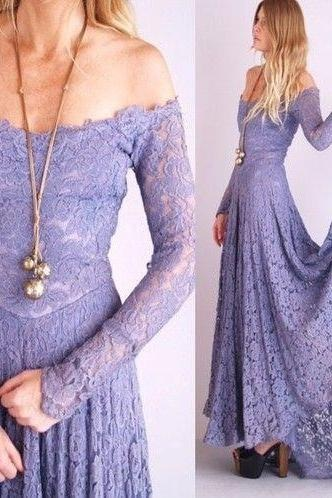 Off-The-Shoulder Prom Dress,New Arrival Prom Dress,Charming Prom Dress,Lace Prom Dress,Long Sleeves Evening Dress,Elegant Prom Dresses,Custom Made Prom Gown, Prom Dresses