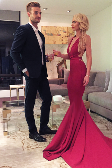 Sexy Prom Gown,Red Prom Evening Dress,Mermaid Prom Dress,Long Prom Dress,V-Neck Formal Evening Dress,Criss Cross Back Prom Dresses,Satin Evening Dress,Prom Dresses
