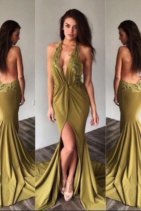 Sexy Prom Dress,Backless Prom Dresses,Long Prom Dress,Mermaid Prom Dresses 2017, Halter Prom Gown,Appliques Prom Dress, Lace Prom Dress,Chiffon Evening Party Dress,Prom Dresses