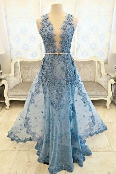 Tulle Prom Gowns,New Arrival Prom Dress,Modest Prom Dress,Blue Prom Gown,V-Neck Prom Dress,Long Prom Dresses,Sleeveless Prom Dress,Appliques Prom Dress,Charming Prom Dress 2017, Prom Dresses