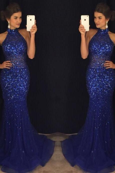 Halter Prom Gown,New Arrival Prom Dress,Modest Prom Dress,Royal Blue Prom Dresses,Mermaid Prom Dresses 2017,Beading Prom Dresses,Sleeveless Prom Gowns,Prom Dresses
